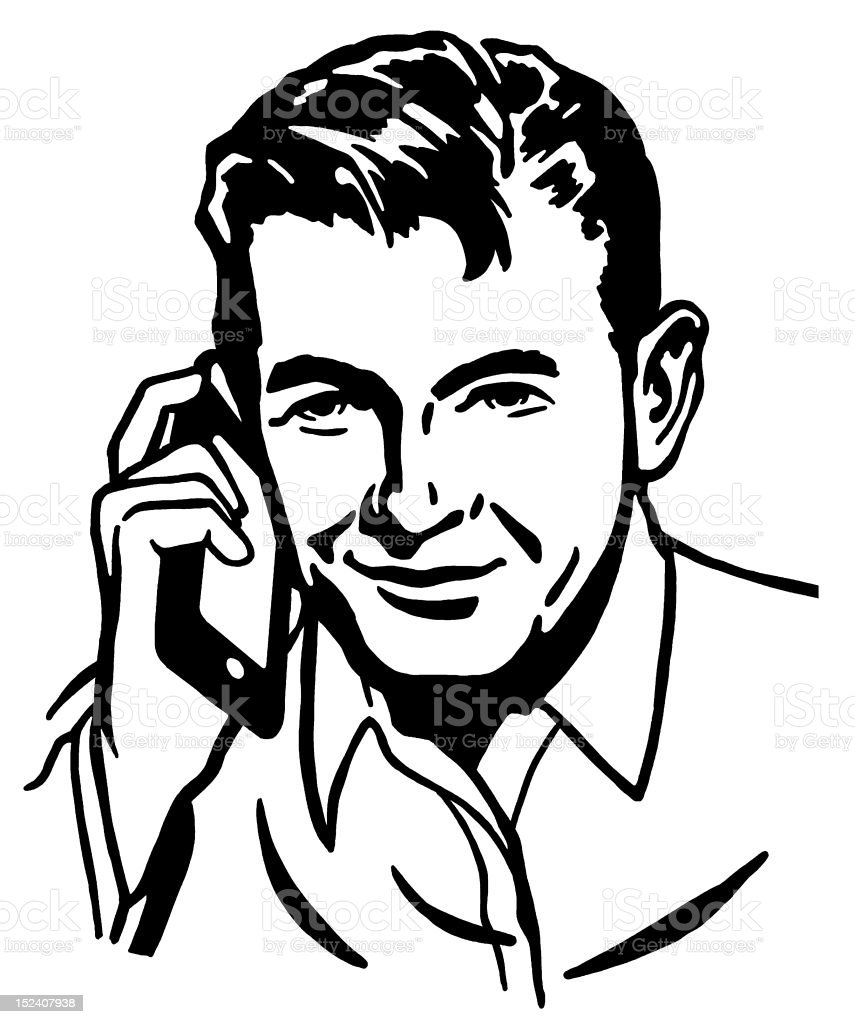 Man Using Cell Phone royalty-free stock vector art