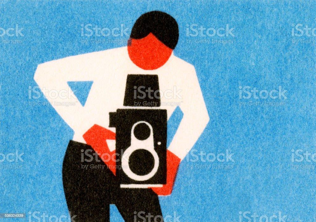 Man Using Old Timey Camera vector art illustration