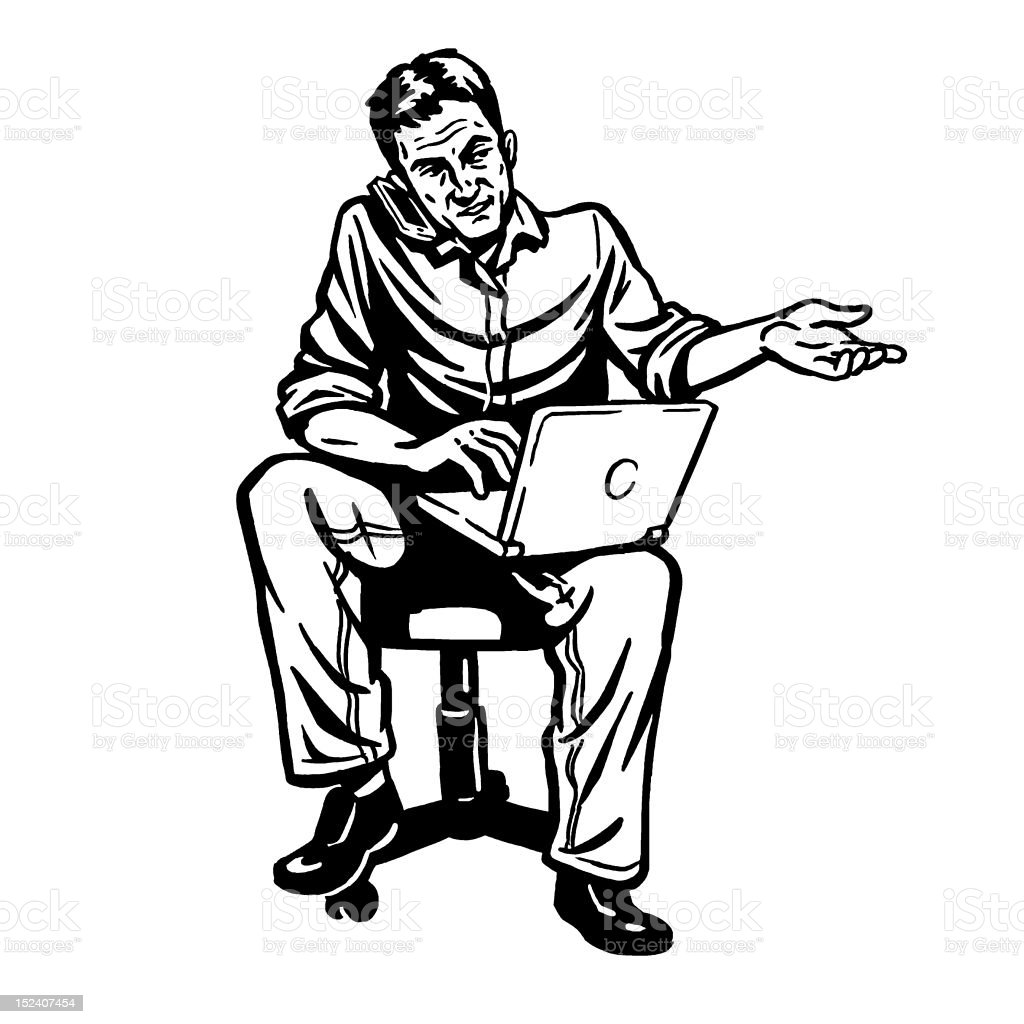 Man Using Phone and Computer royalty-free stock vector art