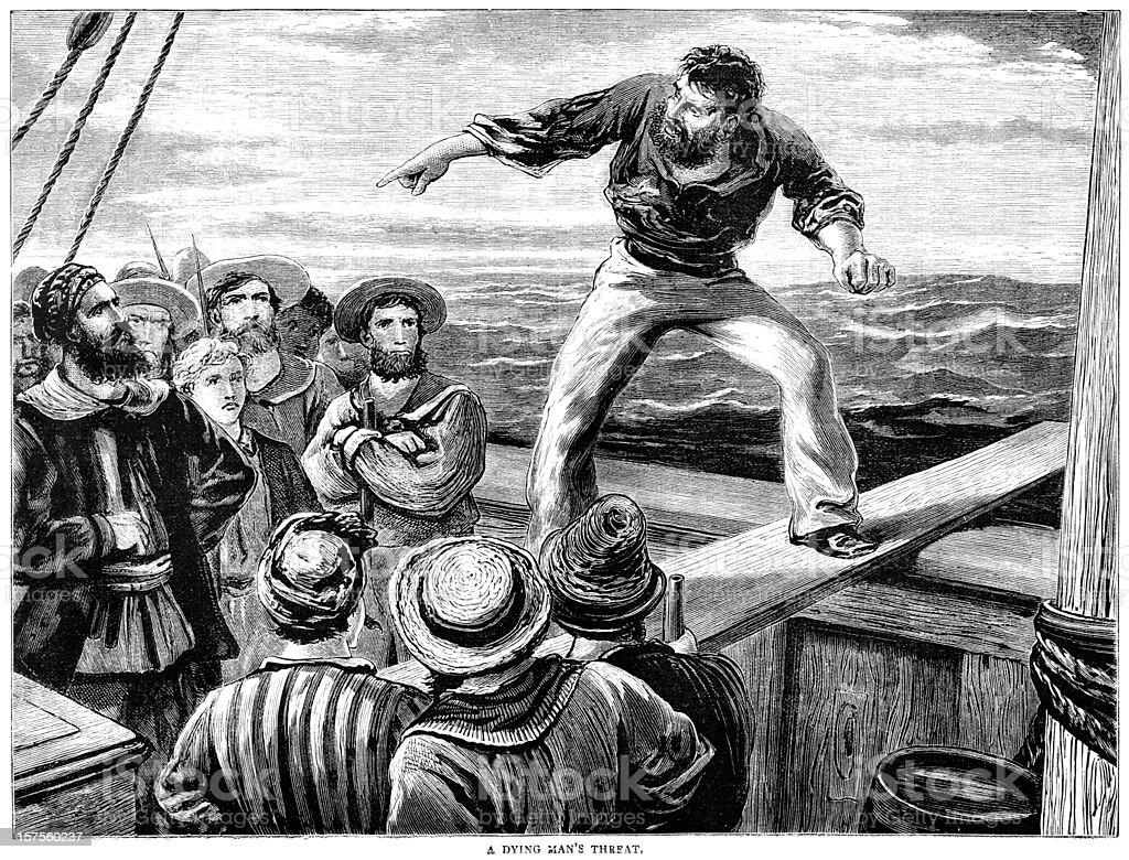 Man walking a gang-plank - Victorian illustration royalty-free stock vector art