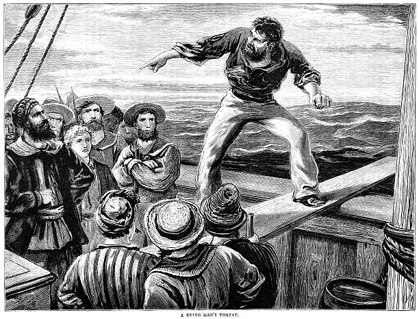 """Man walking a gang-plank - Victorian illustration A man being forced to walk the plank by pirates and cursing his the captain and other sailors. Illustration from """"The Union Jack"""", a British magazine published by Griffith & Farran, London and dated 1st September 1880, Volume II, No 88.  1880 stock illustrations"""