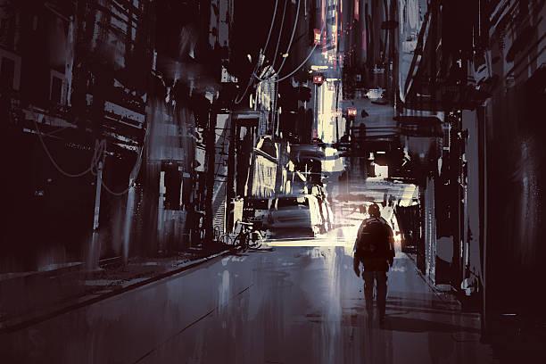 bildbanksillustrationer, clip art samt tecknat material och ikoner med man walking alone in dark city - gränd