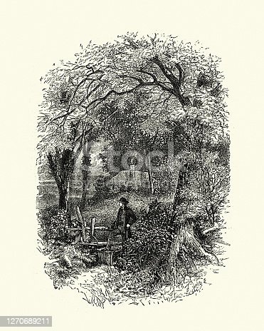 istock Man walking in countryside, climbing over wooden stile, Victorian 1270689211
