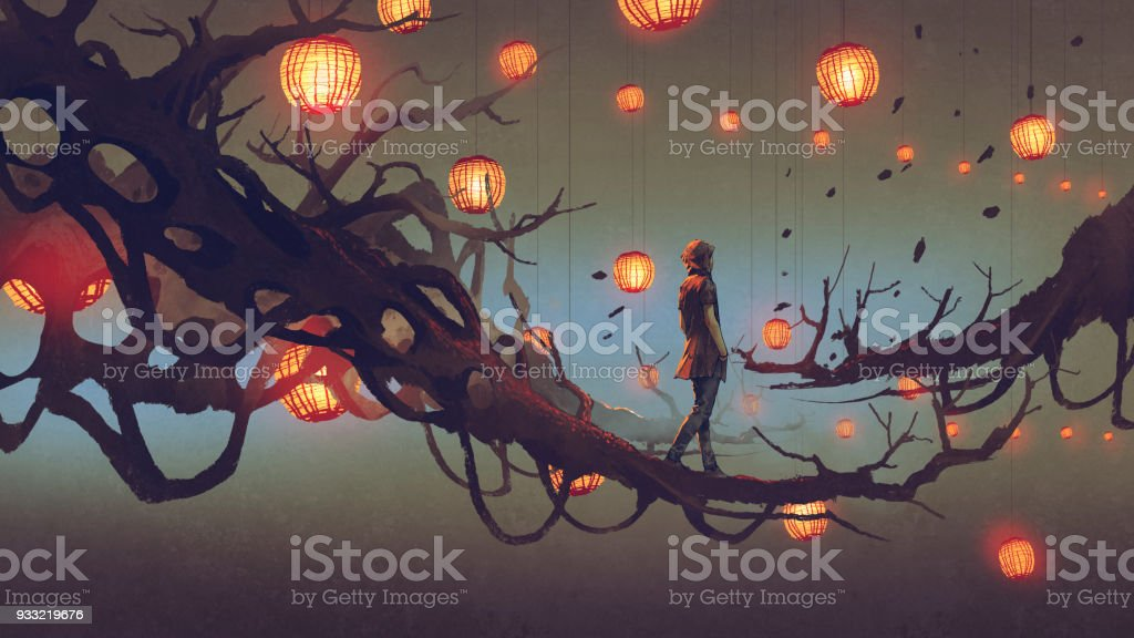 man walking on tree branch with red lanterns vector art illustration