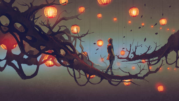 man walking on tree branch with red lanterns man walking on a tree branch with many red lanterns on background, digital art style, illustration painting dreamlike stock illustrations