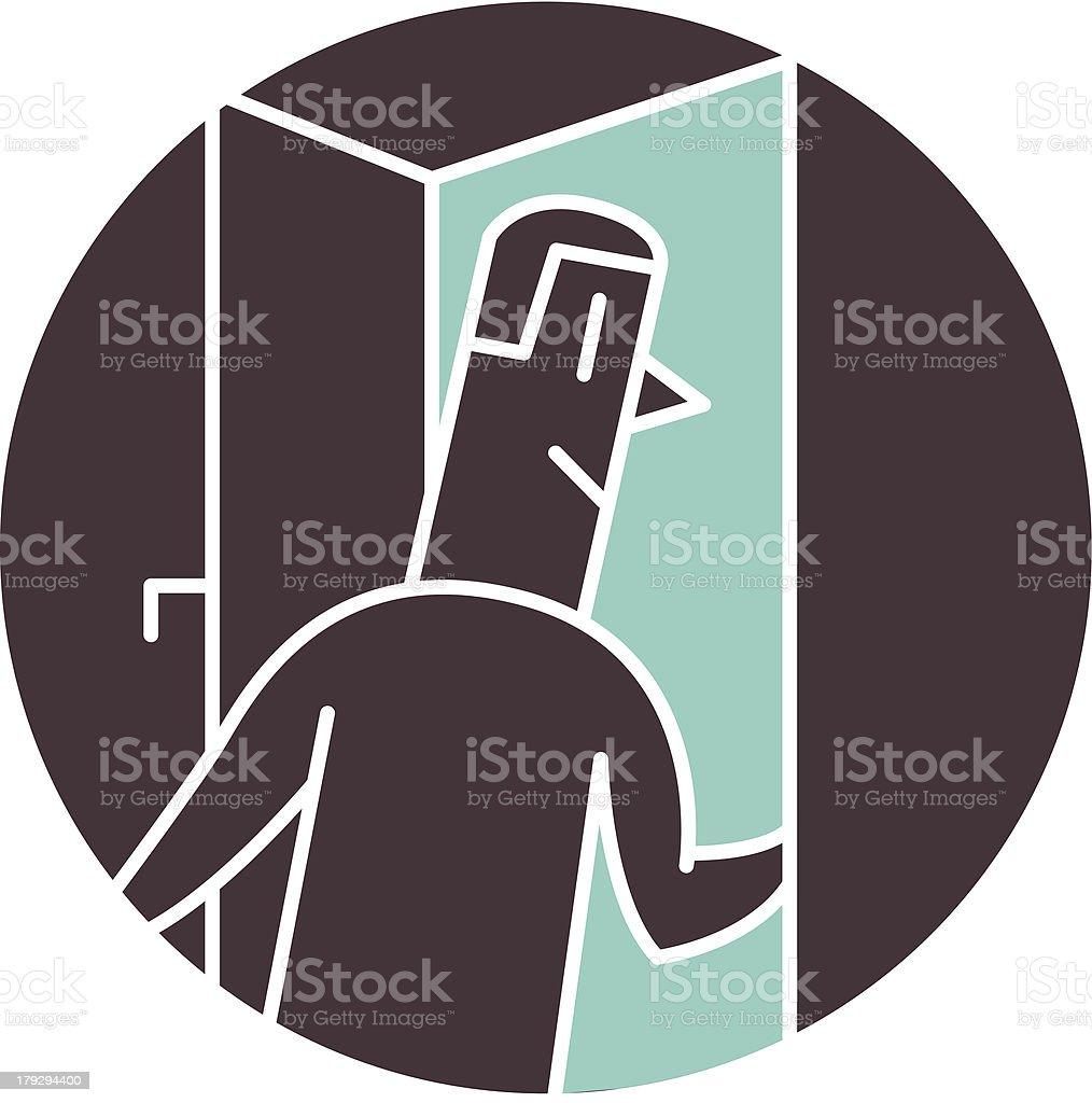 Man walking through door royalty-free stock vector art