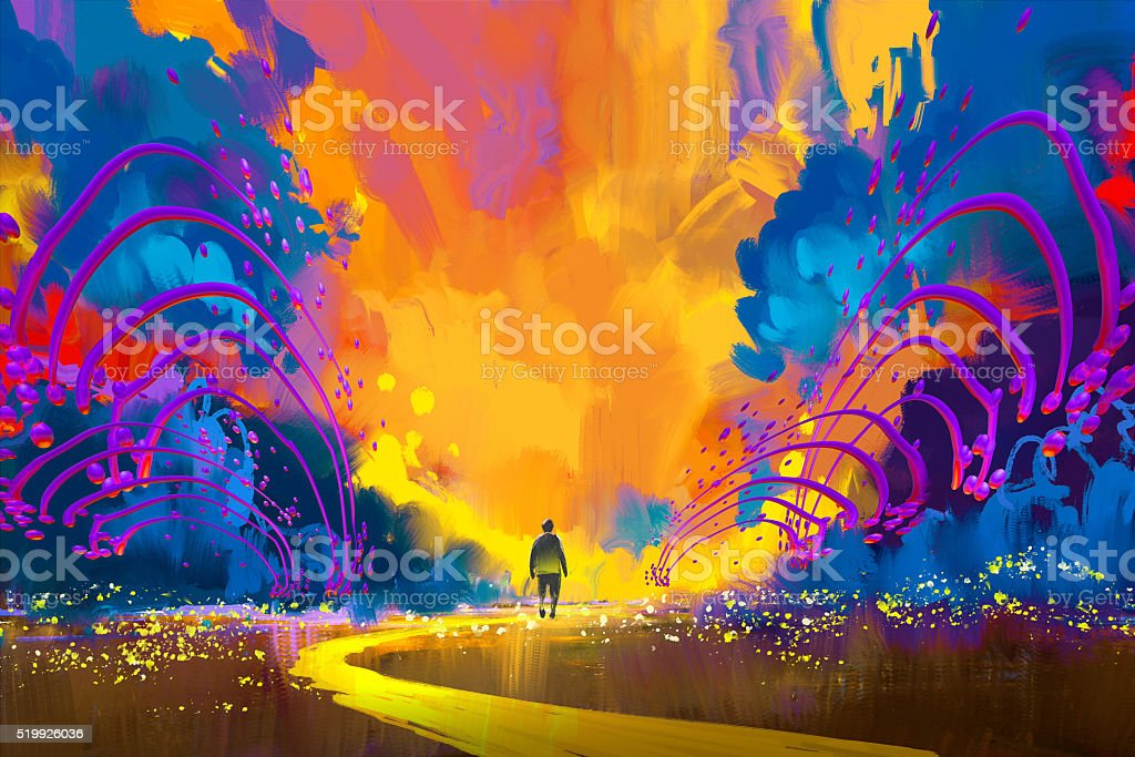 man walking to abstract colorful landscape vector art illustration