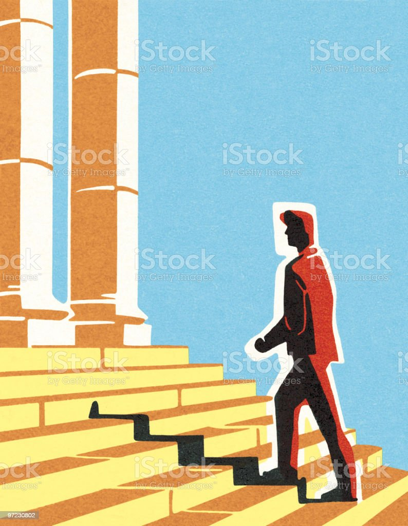 Man walking up steps vector art illustration