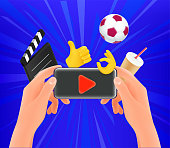 Man watching video on his modern smarphone via mobile application. Sports, action, cinema, tv
