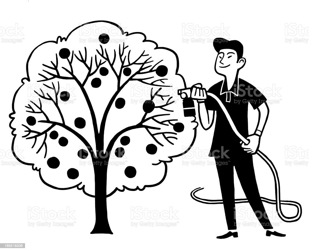 Man Watering a Fruit Tree royalty-free stock vector art