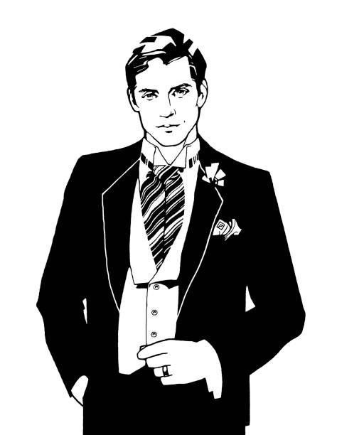 ilustrações, clipart, desenhos animados e ícones de homem vestindo ascot gravata - moda urbana