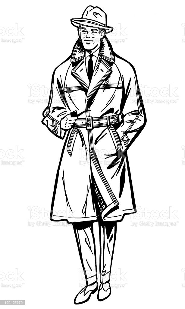 Man Wearing Hat and Trench Coat royalty-free man wearing hat and trench coat stock vector art & more images of adult