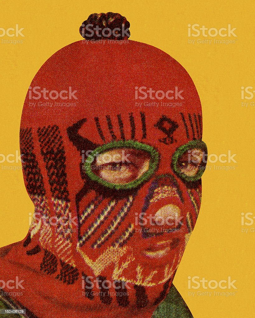 Man Wearing Red Face Mask vector art illustration