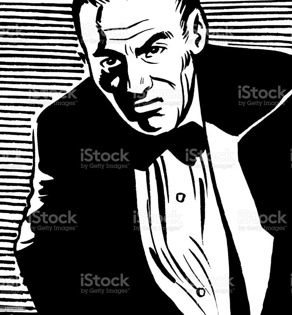 Man Wearing Tuxedo royalty-free stock vector art