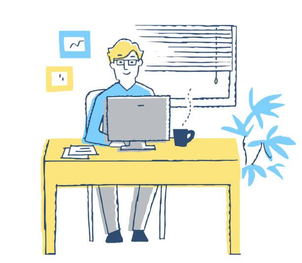 パソコンで働く男 - テレビ会議 日本人点のイラスト素材/クリップアート素材/マンガ素材/アイコン素材