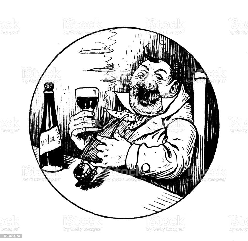 Et vous, quel est votre vin de décembre ? (22 déc)  Man-with-a-glass-of-wine-and-a-pipe-illustration-id1214675076