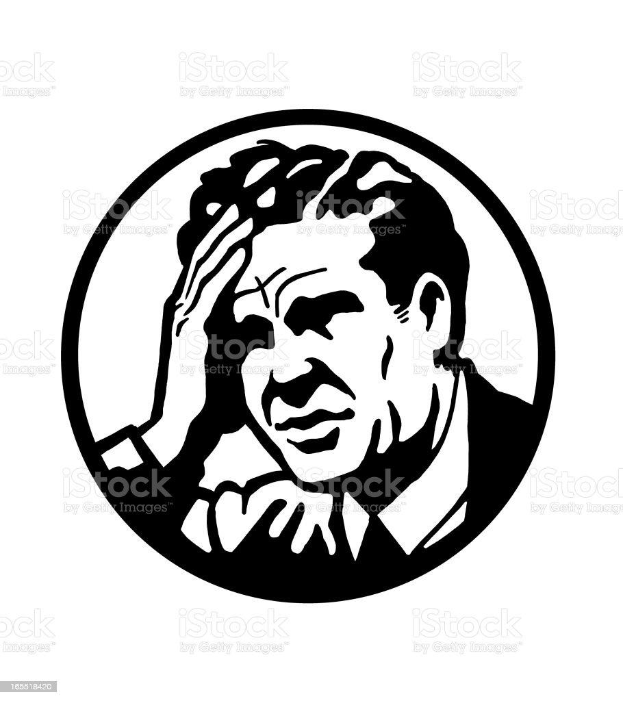 Man With a Headache royalty-free stock vector art