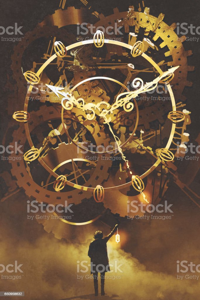 man with a lantern standing in front of the big golden clockwork vector art illustration
