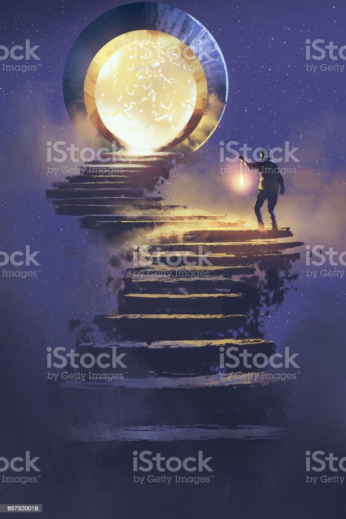 man with a lantern walking to fantasy gate,illustration painting vector art illustration