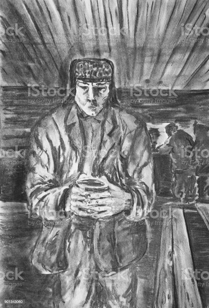 A man with a mug vector art illustration