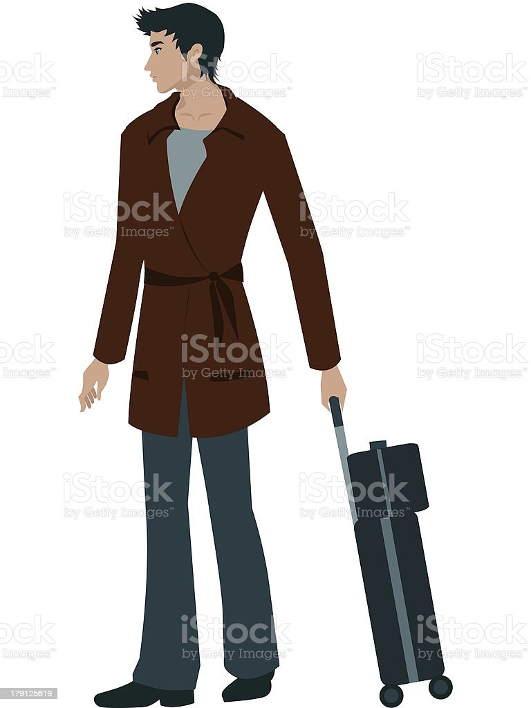 man with a suitcase trolley royalty-free stock vector art