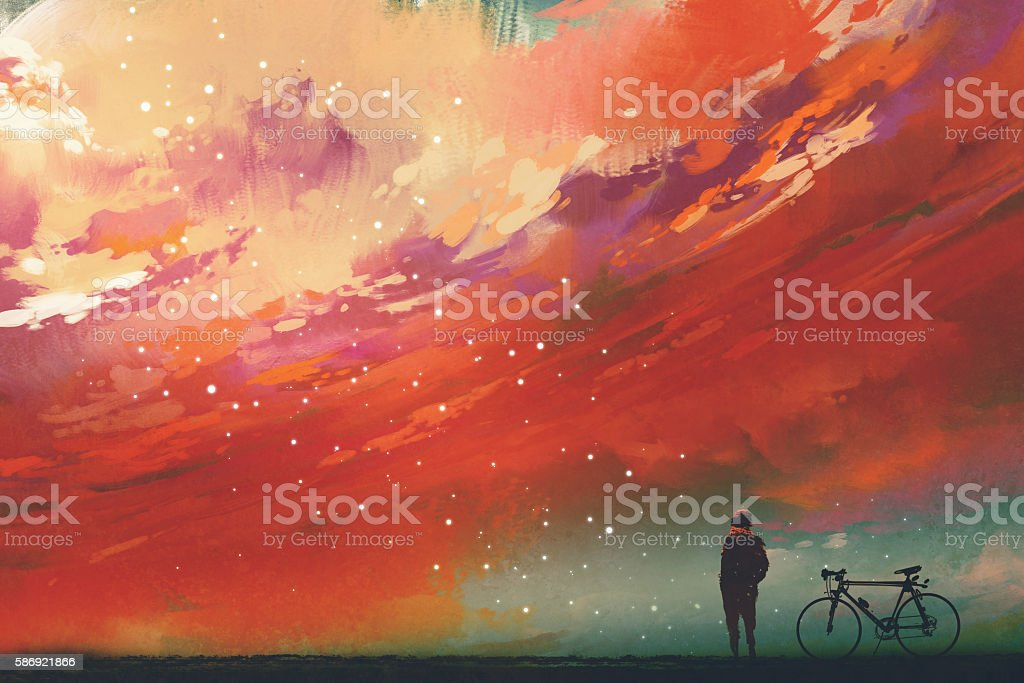 man with bicycle standing against red clouds in the sky - ilustración de arte vectorial
