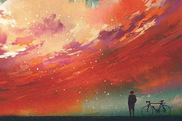 ilustraciones, imágenes clip art, dibujos animados e iconos de stock de man with bicycle standing against red clouds in the sky - viaje a la naturaleza