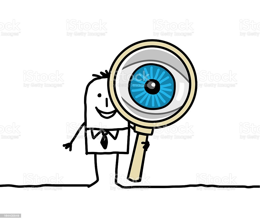 man with big eye & magnifying glass vector art illustration