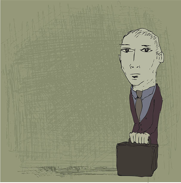 man with briefcase - old man standing drawings stock illustrations, clip art, cartoons, & icons
