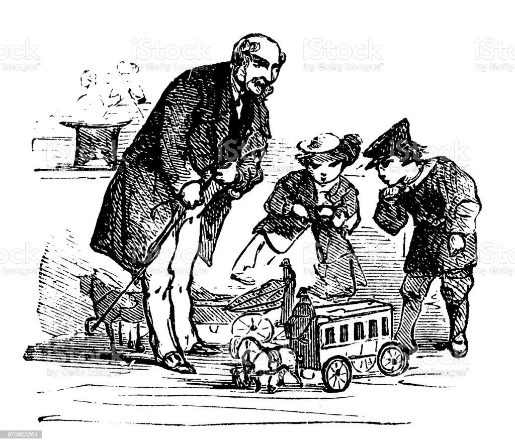 Ilustración de Hombre Con Los Niños En La Tienda De Juguetes Del ...