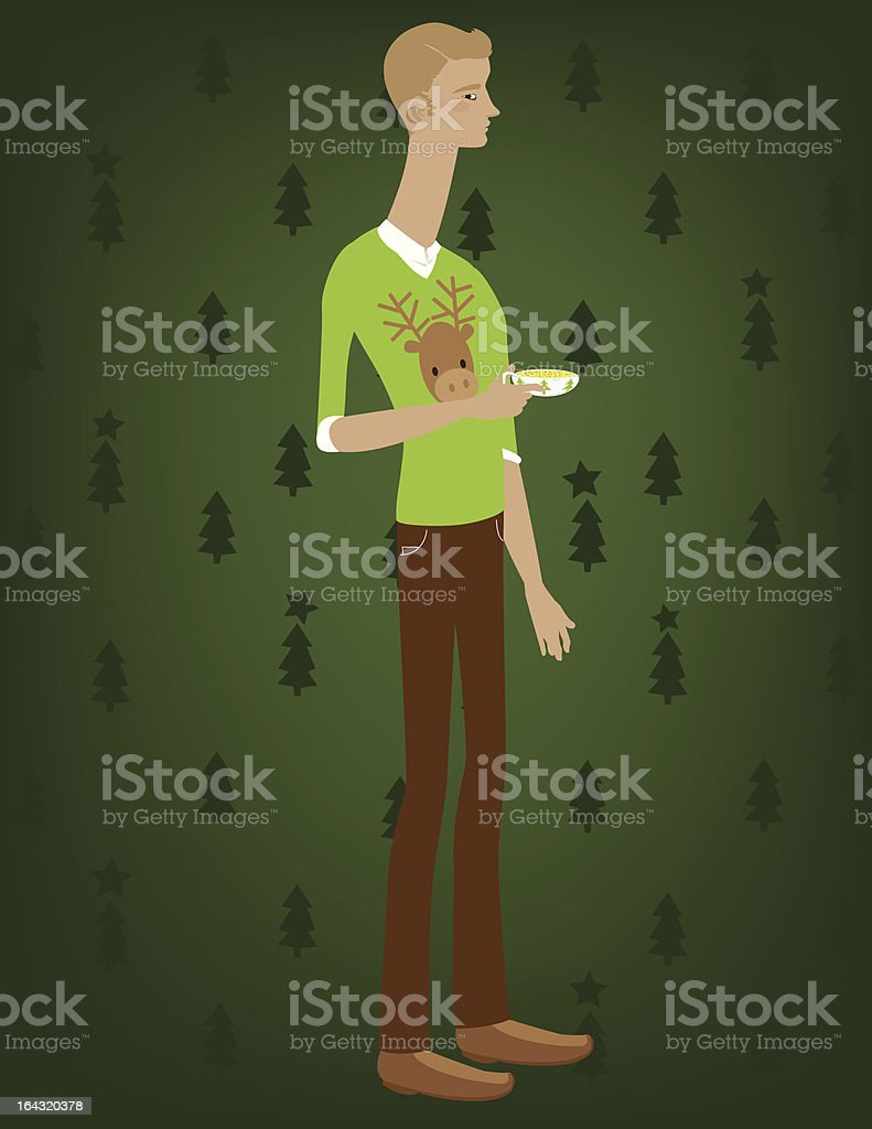 Man with Deer Sweater royalty-free stock vector art