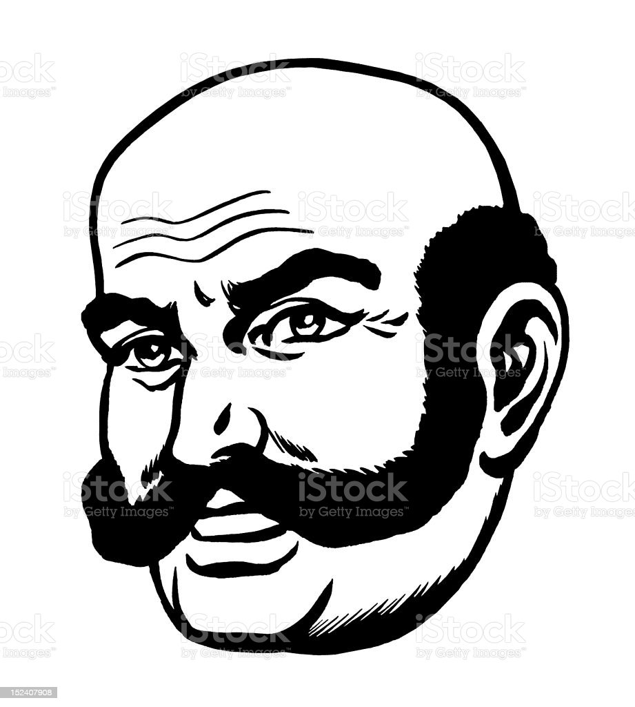 Man With Extreame Handlebar Mustache royalty-free stock vector art