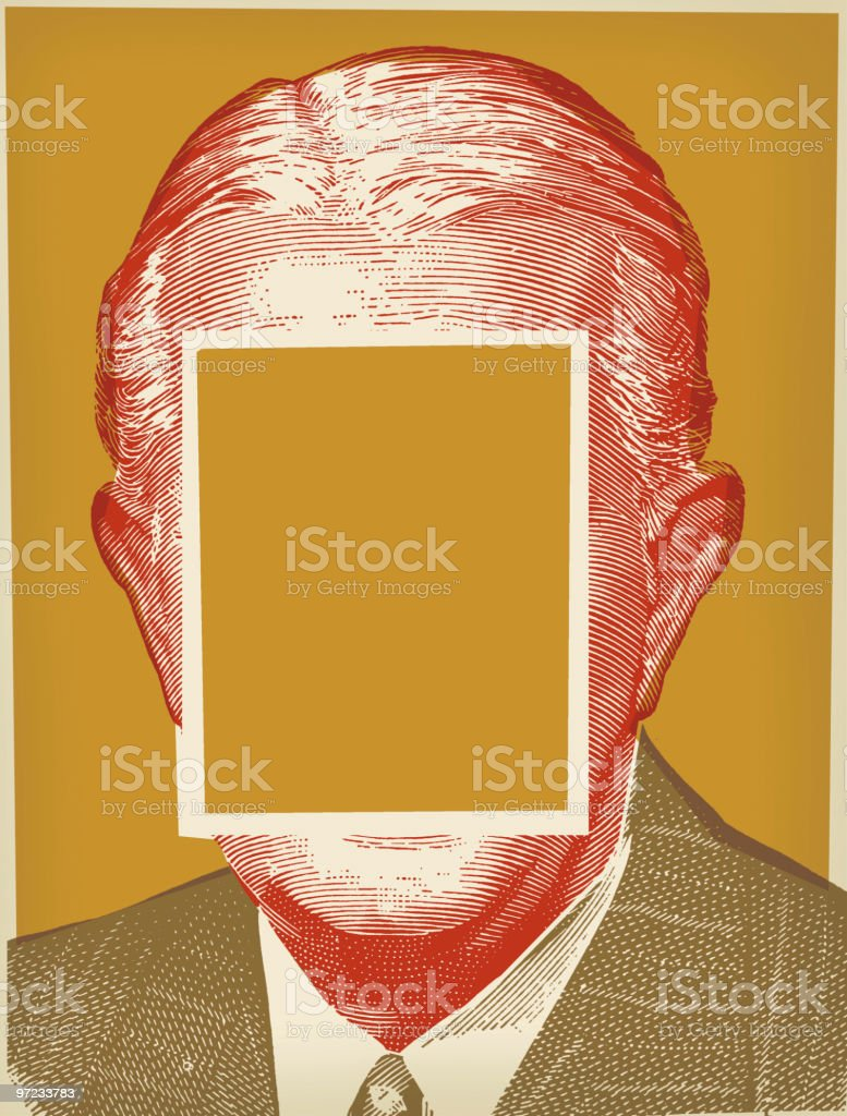 Man with face blocked out vector art illustration