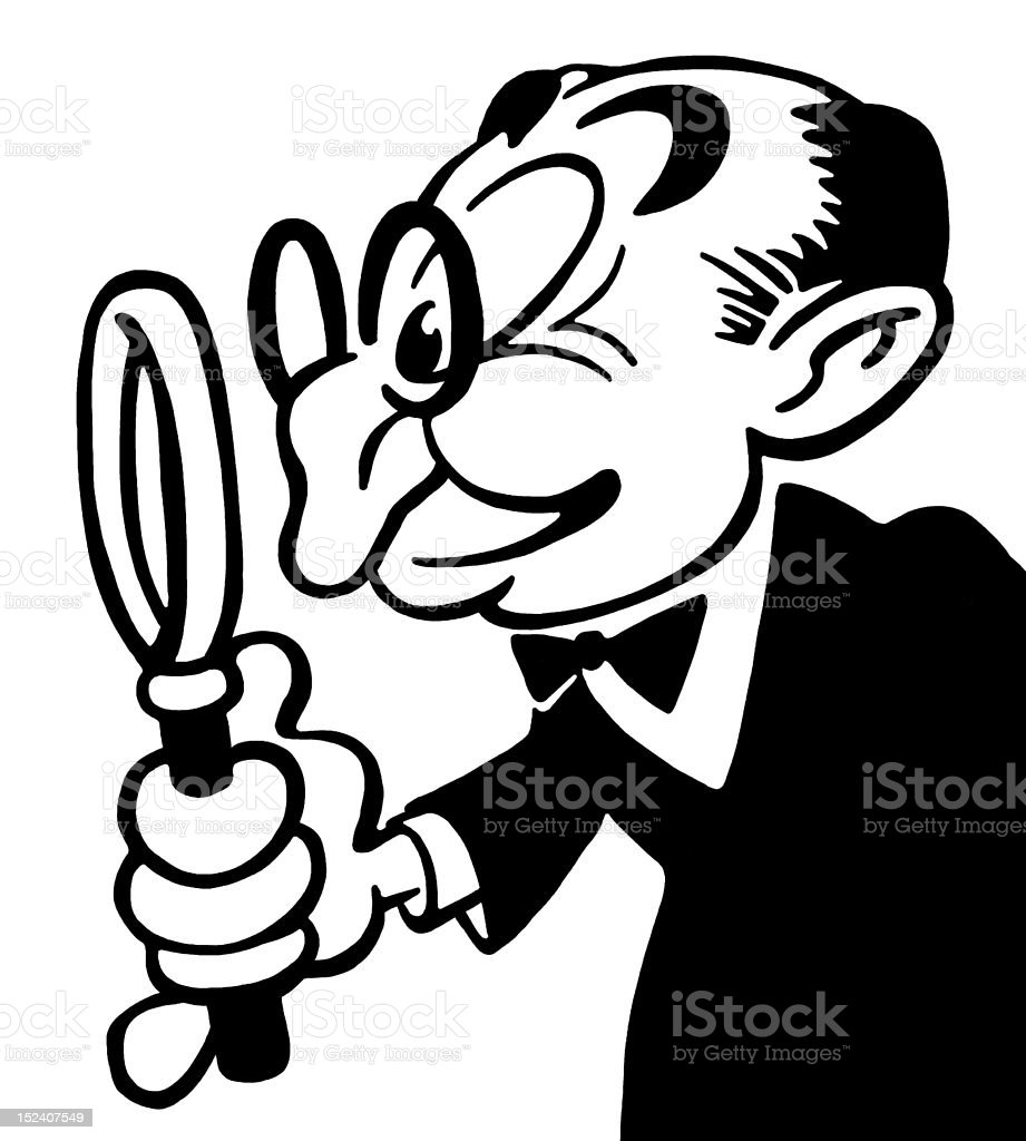 Man With Glasses and Magnifying Glass royalty-free stock vector art