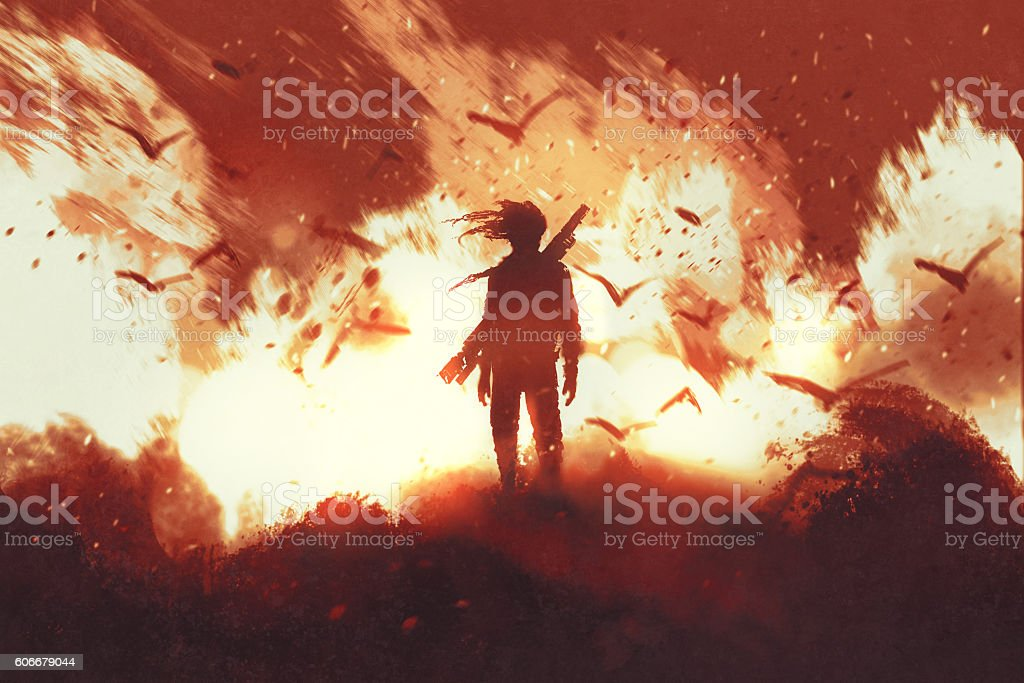 man with gun standing against fire background vector art illustration
