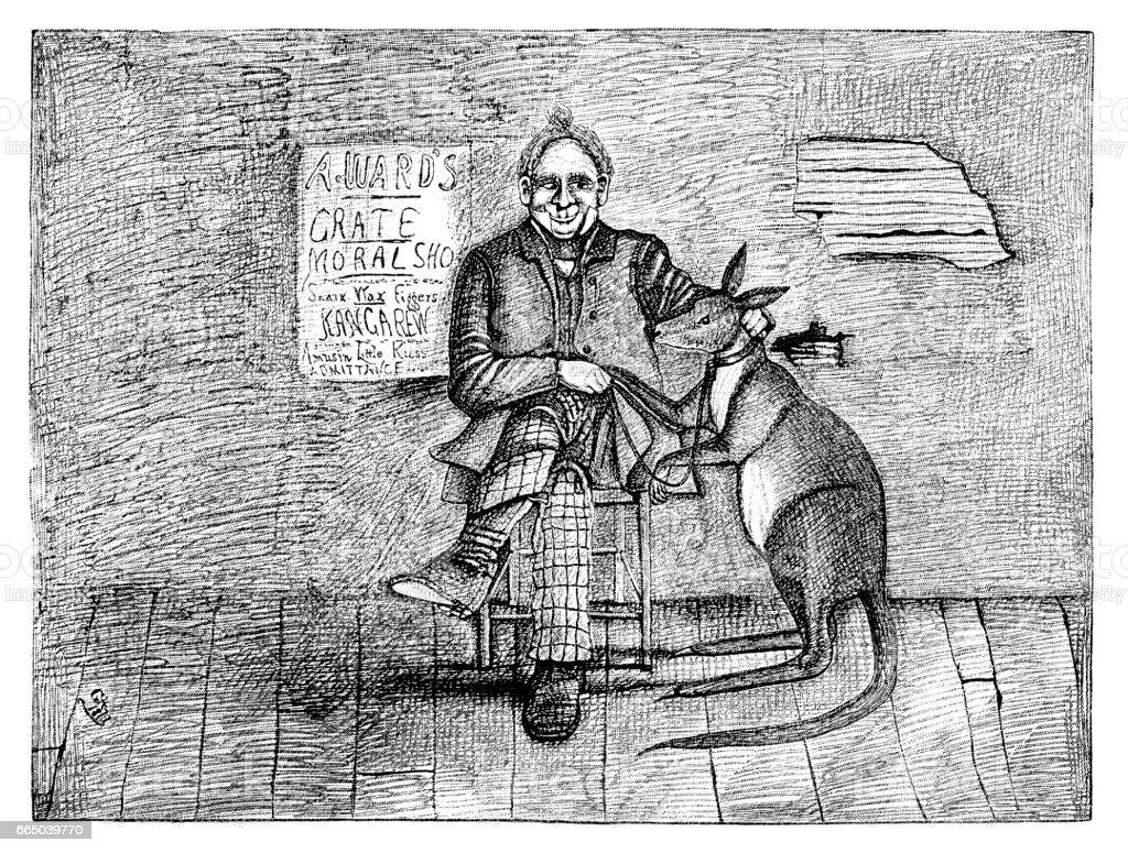 Man with his pet kangaroo vector art illustration