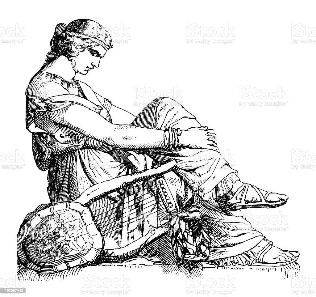 Man With Lyre - Antique Engraving (XXXL) vector art illustration