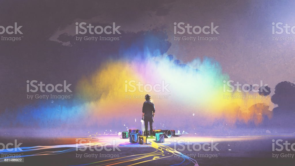 man with paint buckets stands in front of colorful cloud vector art illustration