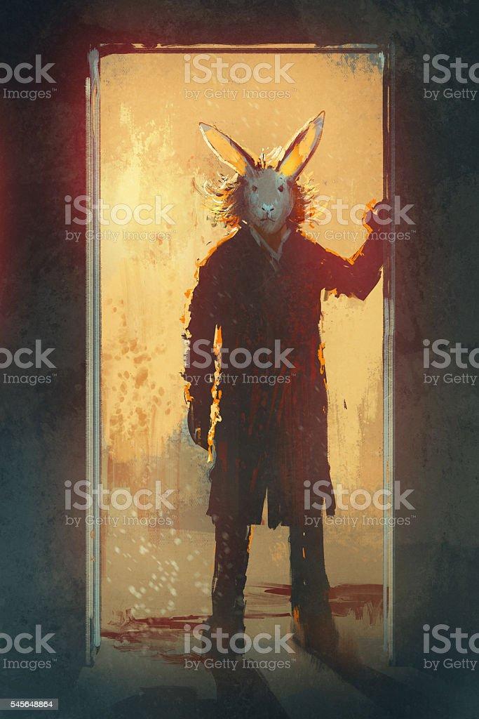Man With Rabbit Mask Standing At The Door Stock Vektor Art Und Mehr