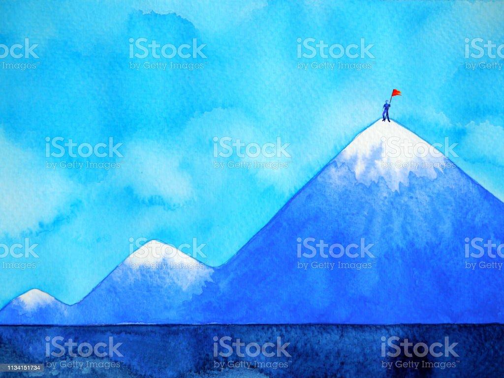 Tepe Dag Suluboya Boyama Illustrasyon El Kirmizi Bayragi Ile Adam