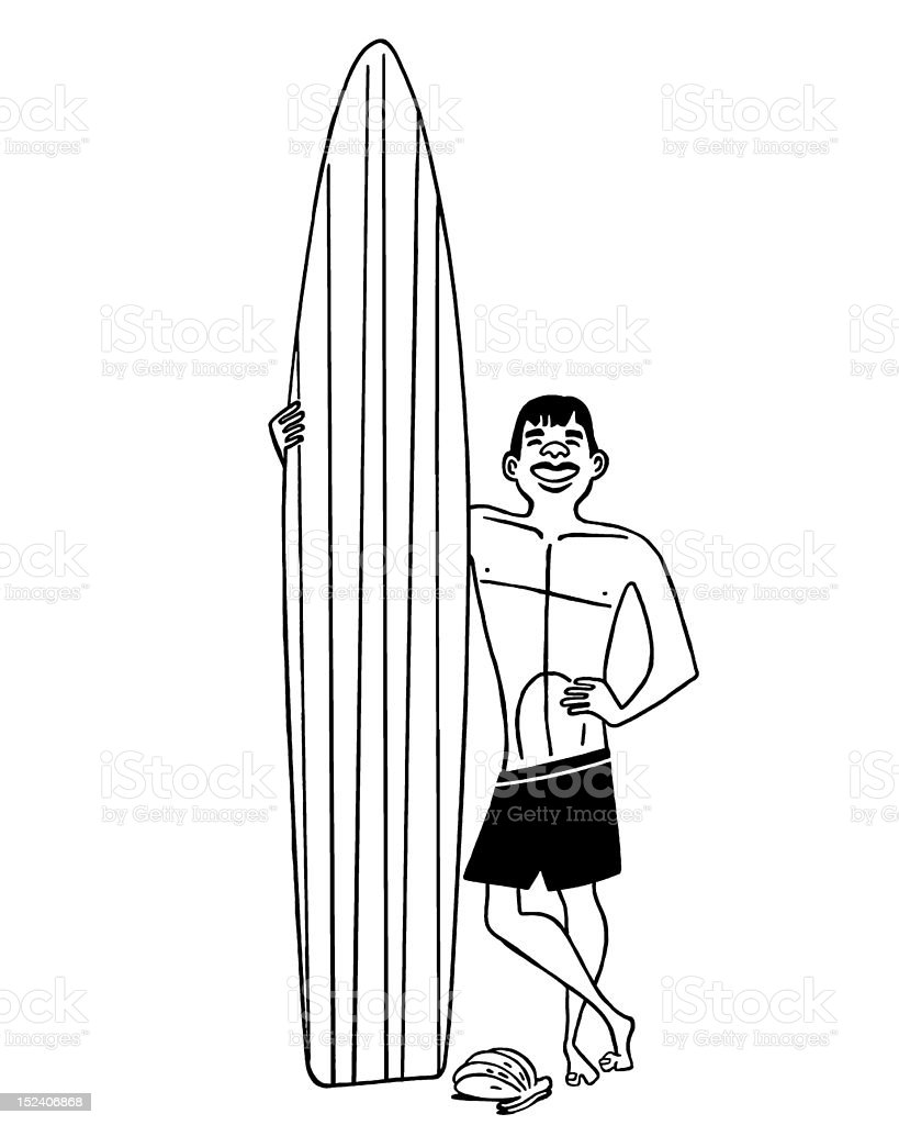 Man With Surfboard royalty-free stock vector art