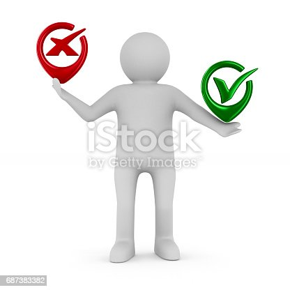 Man With Symbols Yes And No Isolated 3d Image Stock Vector Art
