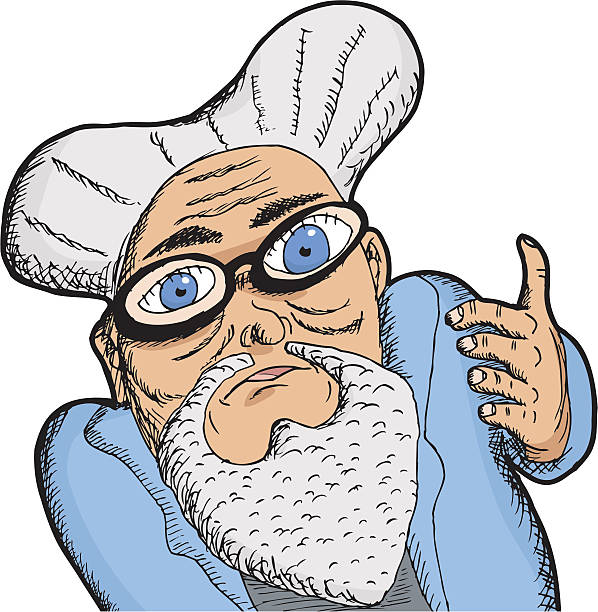 man with thick lenses - old man long beard cartoons stock illustrations, clip art, cartoons, & icons
