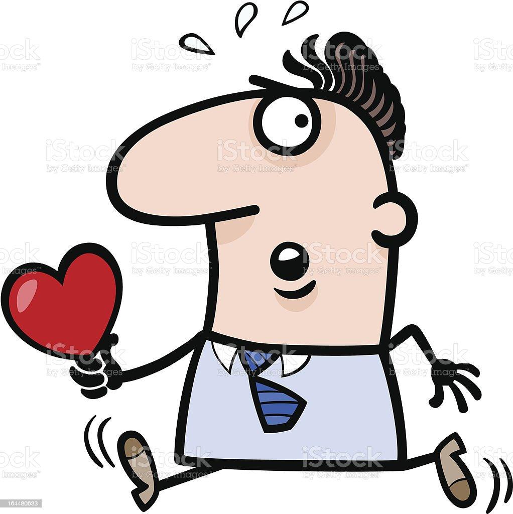 man with valentine card cartoon illustration royalty-free stock vector art