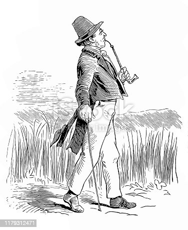 Illustration of a Man with walking cane smoking pipe going for a walk