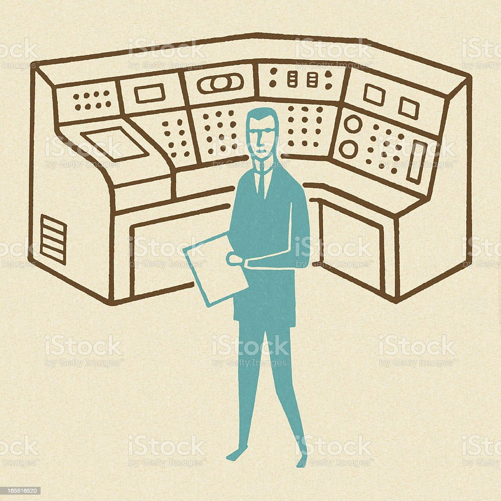 Man Working at a Control Center royalty-free stock vector art