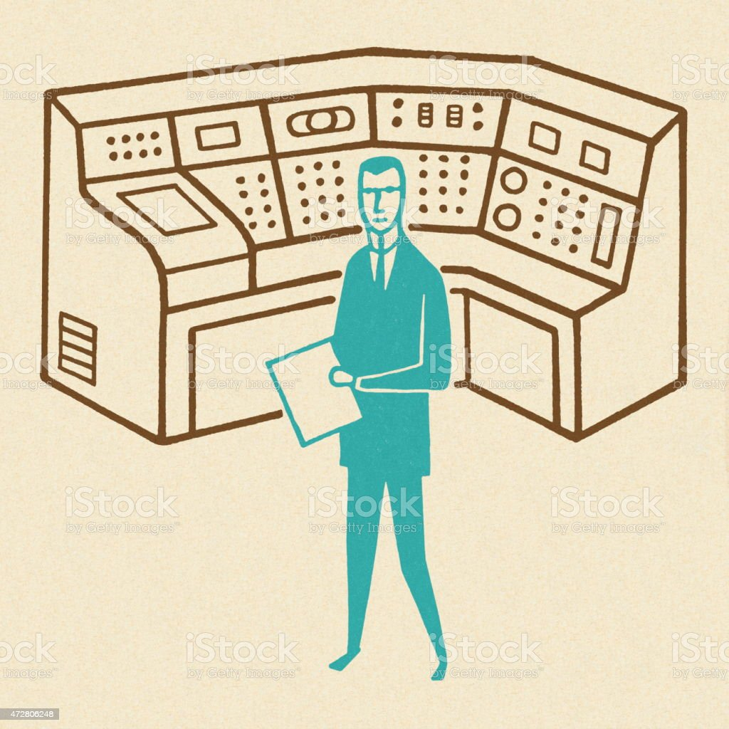 Man Working at a Control Center vector art illustration
