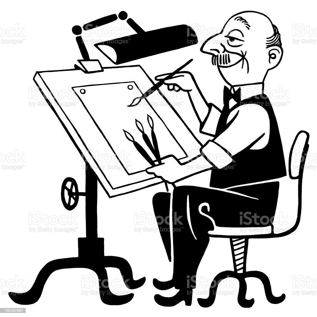 Man Working at Drafting Table royalty-free stock vector art