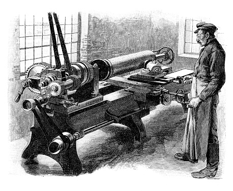 Man working at lathe in workshop Original edition from my own archives Source :