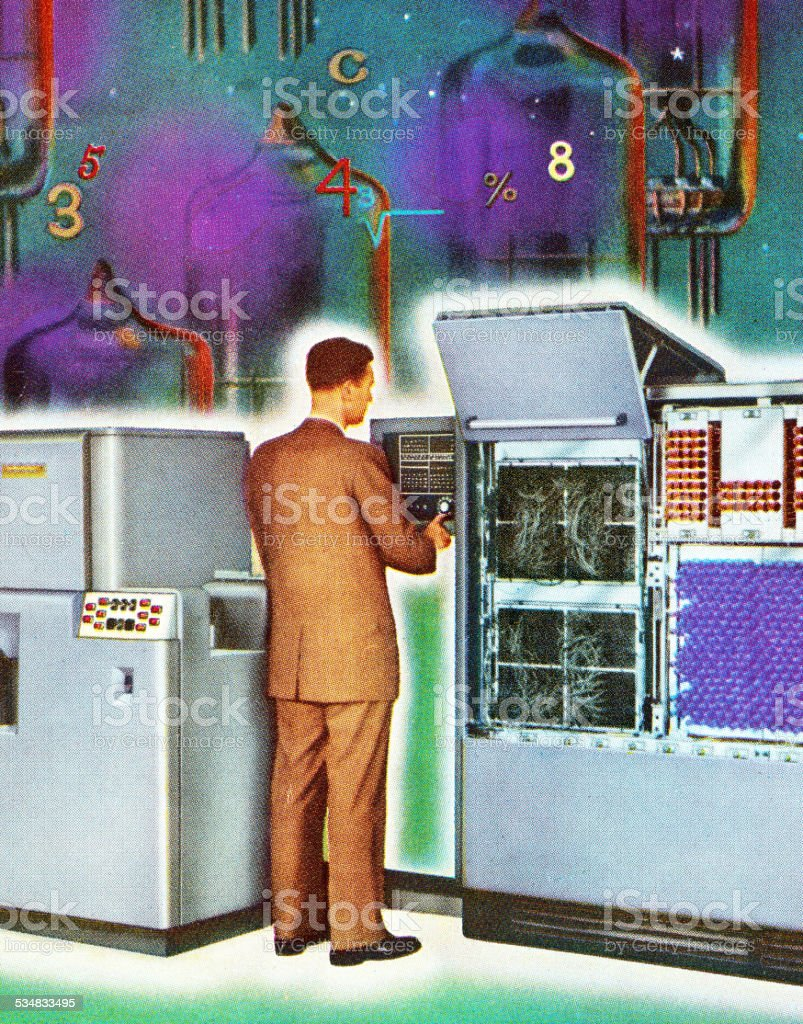 Man Working at Vintage Computer vector art illustration